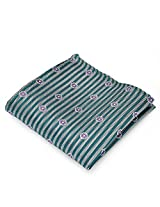 PenSee 100% Silk Woven Silver-Grey & Green Stripe Purple Flower Pocket Square
