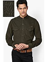 Solid Olive Casual Shirt Mufti