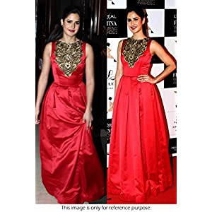 Bollywood Replica Katrina Kaif Raw Silk Suit In Red Colour NC809