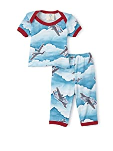 Mad Sky Boy Baby Short Sleeve Lap Tee and Legging Set (Vintage Airplanes)