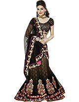 SareeStudio Black Bridal Wear Embroiery Patch Work Net Lehenga Saree Sari
