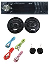 Worldtech Onmca_410 Single Din Wt - 7101U With 6 Inch Speakers Set With 4 Aux Wire & Tweeter