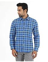 London Fog Men's Casual Shirt (8907174017150_Blue_Large)