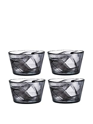 Orrefors Set of 4 Small Mine Bowls, Black