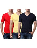 TeeMoods Pack of Three Men's V Neck Tshirts-Red, Yellow & Navy_TM-C-1549RED-YEL-NAVY-S