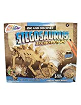 Dig And Discover Dinosaur Excavation Kit ~ Stegosaurus (8 Bones, 1 Clay Block, Tools And Instructions; Ages 6+)