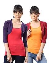 ESPRESSO WOMEN PACK OF 2 SHRUGS -GRAPE / RED-XL