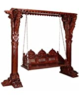 Subrata Wooden Carved Swing in Colonial Maple Finish with Mudramark