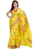 Exotic India Green-Sheen Banarasi Handloom Saree With Woven Lotuses - Yellow