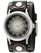 Nemesis Men's 217DBTK-K Black Gradient Pointium Series Dark Brown Wide Weaving Leather Cuff Band Analog Display Japanese Quartz Brown Watch