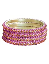 DollsofIndia Four Pink with Golden Stone Studded Bangles - Stone and Metal - Magenta