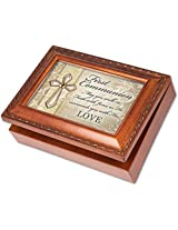 First Communion Cottage Garden Wood Grain Finish Jewelry Music Box - Plays Song Ave Maria