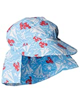 Flap Happy Baby Boys' Cotton Poplin Hat, Somersault Sails, Small