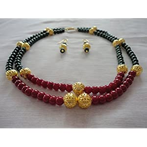 Mona Jewels Red & Green Beads Two Stringed Necklace With Hanging Earrings