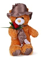 Tickles Brown Cap Teddy With Rose Stuffed Soft Plush Toy 36 cm