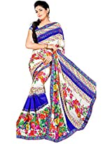 Shree Bahuchar Creation Women's Chiffon Saree(Skb47, White and Blue)