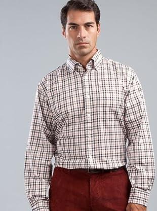 Cortefiel Camisa (blanco / negro / naranja)
