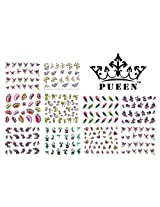 Pueen 3D Nail Art Sticker Collection Set E1 - 10 Packs In Different Designs - Over 240 Stickers