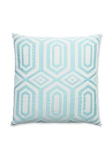 """Peking Handicraft Hexagon Embroidered Linen Pillow, Aqua, 20"""" x 20"""""""