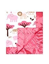 "My Blankee Jungle Tales Minky White w/ Minky Dot Raspberry Baby Blanket, 30"" x 35"""