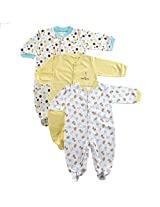 Luvable Friends Snap Front Sleep N Play 3 Pack, Yellow, 3-6 Months