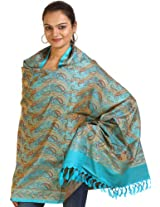 Exotic India Womens Pure Silk-Wool Shawls ,Lake Blue ,Free Size