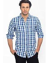Checks Navy Blue Casual Shirt Basics