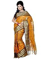 B3Fashion Traditional Bengal Handloom Cotton Tant/Tangail Ochre Yellow coloured saree