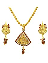 Suratdiamond Gold Plated Kundan Multi-Colour Pendant Necklace With Earrings For Women