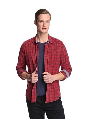 Façonnable Tailored Denim Men's Plaid Corduroy Shirt (Red)