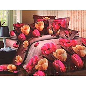 Homefab Beautiful 3 D Printed Double Bed-Sheet With 2 Pillow Covers (Code: Dreams 046)