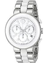 Movado Cerena White Ceramic Chronograph Ladies Watch 0606758