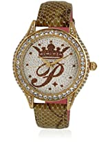 H Ph12987jsg/06 Golden/Silver Analog Watch Paris Hilton