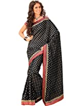 Orbymart Black Color Raw Silk Saree - 55208266