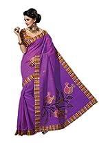 Triveni Blended Cotton Saree (TSMRCCRV184_Purple)