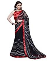 Shoppingover Festival Wear Satin Fabric Saree in Black and Red Color