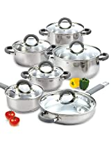 Cook N Home 02410 12 Piece Stainless Steel Cookware Set - Silver