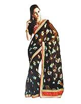 Gopalclothdesigner Georgette Resham Saree (iwgy13_Black)