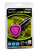 Xtreme 81133-PNK 3 Amp Dual Port USB Car Charger - Retail Packaging - Pink