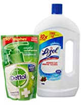 Lizol Disinfectant Surface Cleaner - 975 ml (Pine) with Free Dettol Hand Wash - 185 ml