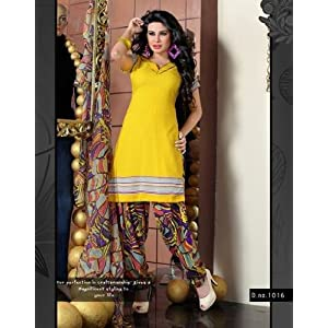 Variation Yellow Printed Dress Material For Women