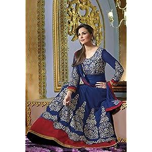 Bollywood Replica Designer Lara Dutta Georgette Anarkali Suit - Red and Blue Color Combo - Model Number 4007