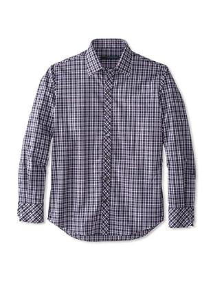 Zachary Prell Men's Soucy Checked Long Sleeve Shirt (Navy)