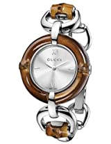 Gucci Bamboo And Steel Bangle Ladies Watch Ya132403