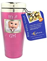 """Okiehana Baby Stainless Steel Travel Mug with Photo Frame, """"It's a Girl"""", 16-Ounce, Pink"""