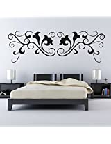 DeStudio Curly Floral Decorative One Home Art Decor Removable Vinyl Room Wall Sticker, Size : TINY, Color : CREAM