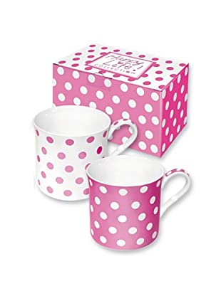 Easy Life Design Set 2 Mug in Porcellana Bone China Happy Pois (Rosa)