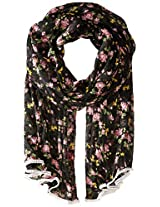 Betsey Johnson Women's Flower Bomb Wrap, Black, One Size