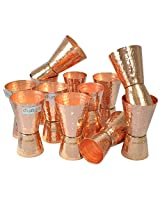 Dungri India Craft ® (Set of 12) Premium Hammered Solid Copper Jiggers - Shot Glasses - New Beer Bar Collection / Wine Glasses/Double Shot Glasses