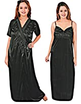 Indiatrendzs Women's Sexy Honeymoon Evening wear Black 2pc Nighty